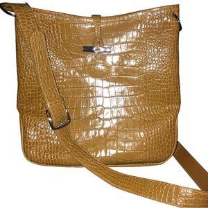 Longchamp 'Roseau' Croc Embossed Crossbody Bag
